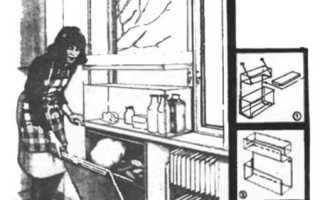 Холодильник за окном на подоконнике